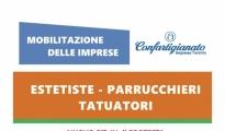 """EMERGENZE/ """"Riapertura e ristori immediati"""", il settore benessere di Confartigianato protesta domani a Taranto"""